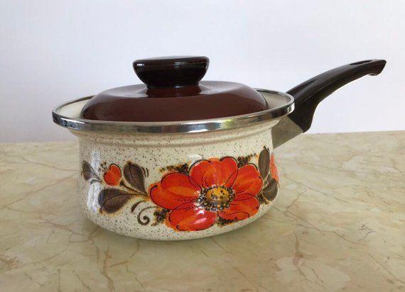 Vintage Sanko Ware, Covered Sauce Pan, Quart Show Pan, Orange Flowered, Japanese Cookware, 1970s Retro Kitchen Balcony