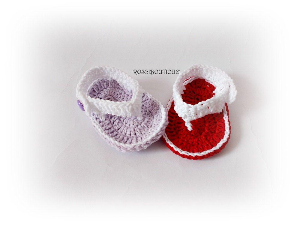 Crochet Baby Flip Flops, Newborn Sandals, Red Purple sandals, Red ...