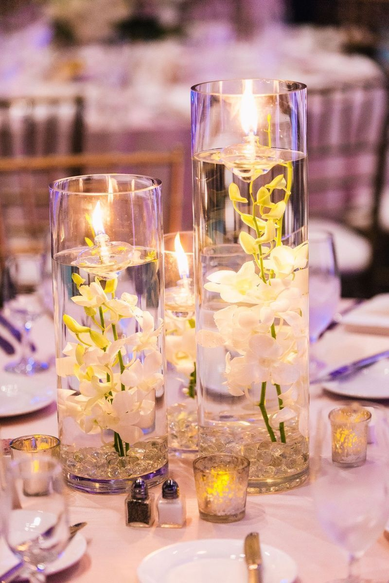 1920's themed wedding decorations  Submerged Orchids with Floating Candles  Photography Vue