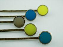 5 Haarklammern, Haarspangen Polaris blau grün