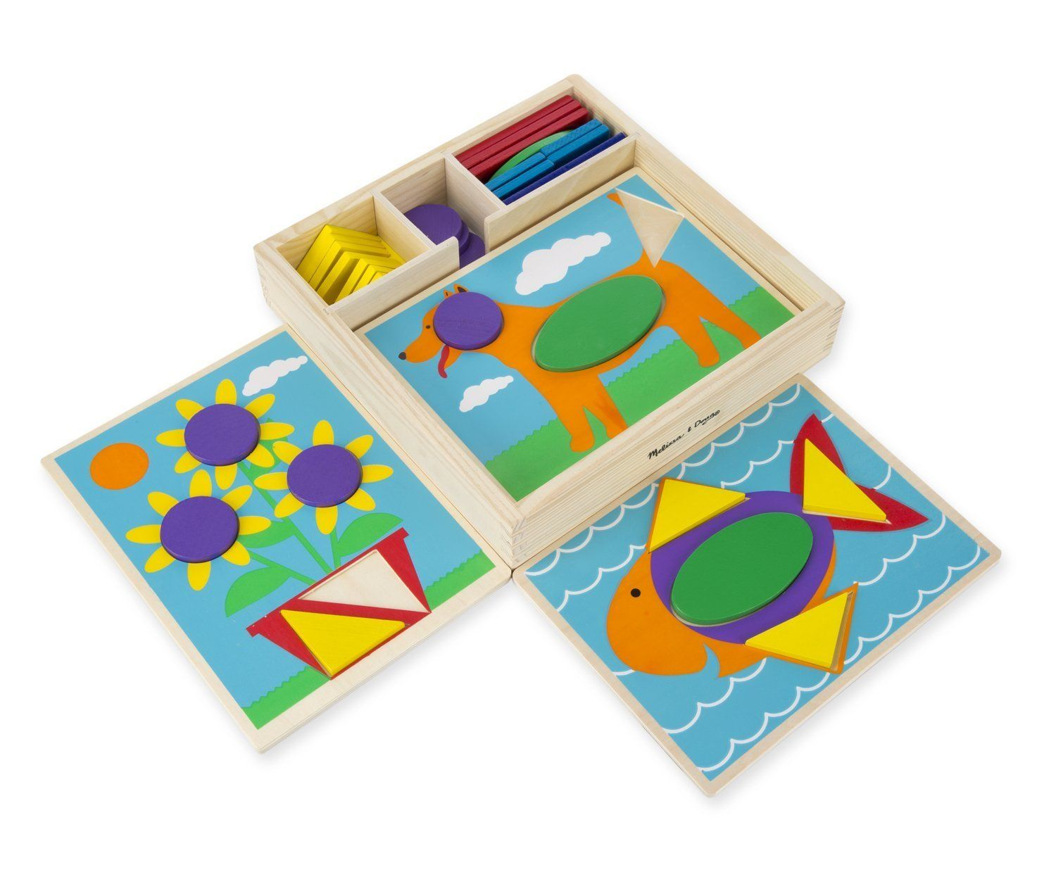 Melissa Doug Beginner Wooden Pattern Blocks Educational Toy With
