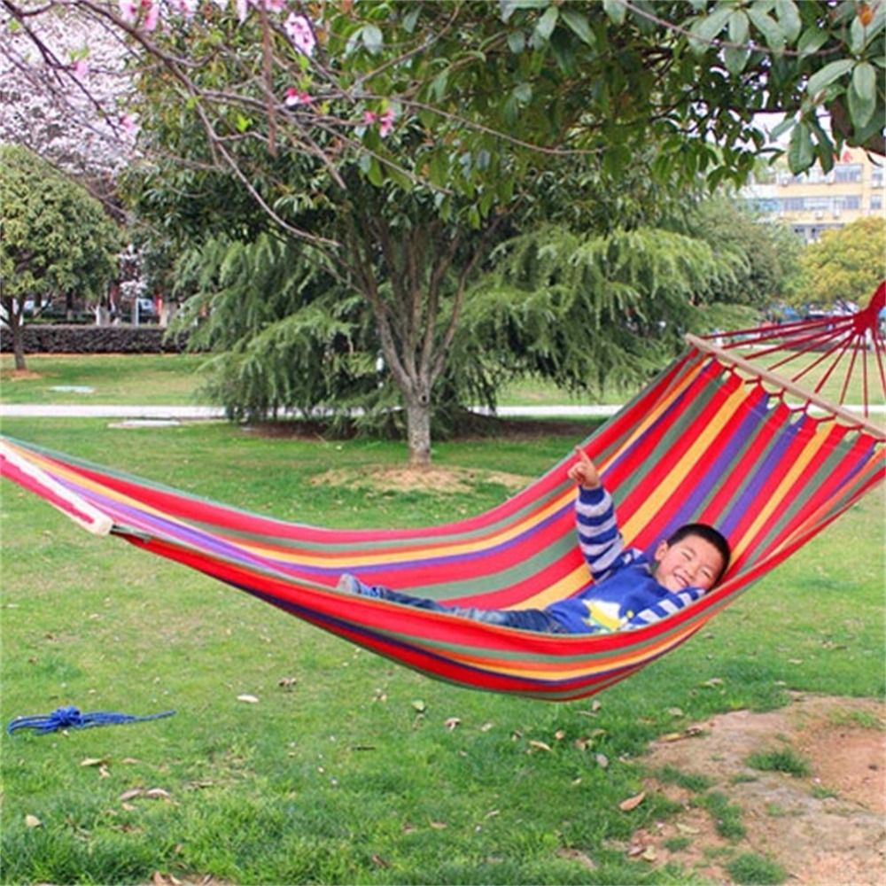 New Canvas Fabric Double Spreader Bar Hammock Outdoor Camping Swing Hanging Bed