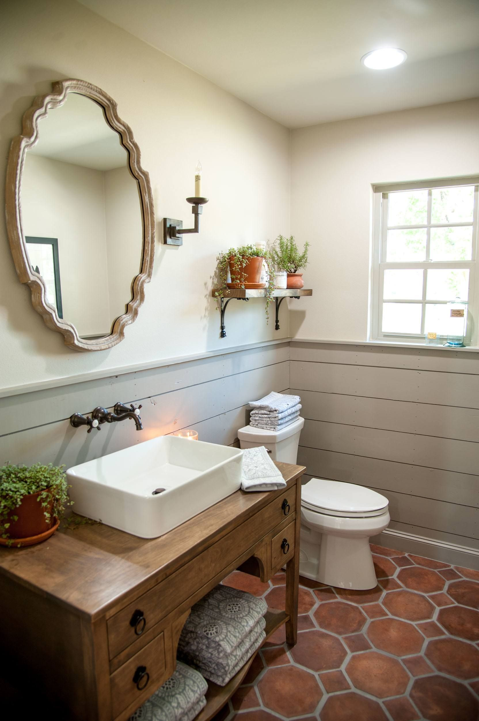 Gray Shiplap Wainscoting Added Dimension To This Powder Room Without Overwhelming The Small Space