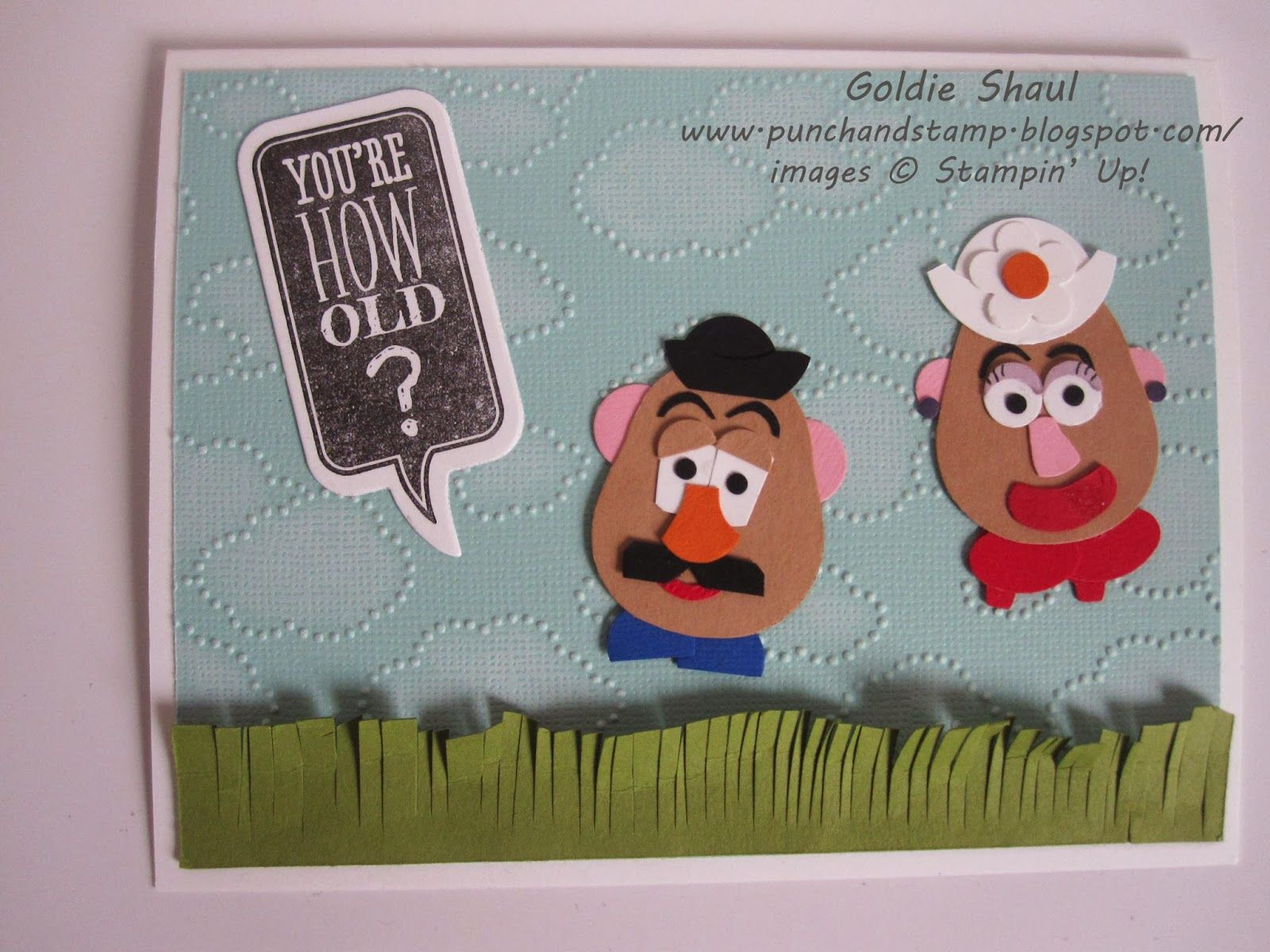 just sayin stampin up – Mr Potato Head Birthday Card
