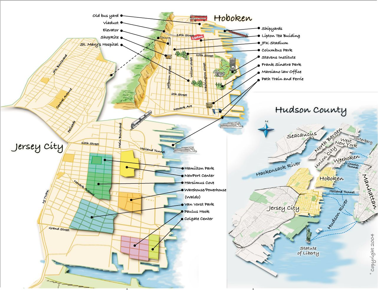Hoboken Area Map The Many Lives Of Amy Houston Pinterest - New jersey city map