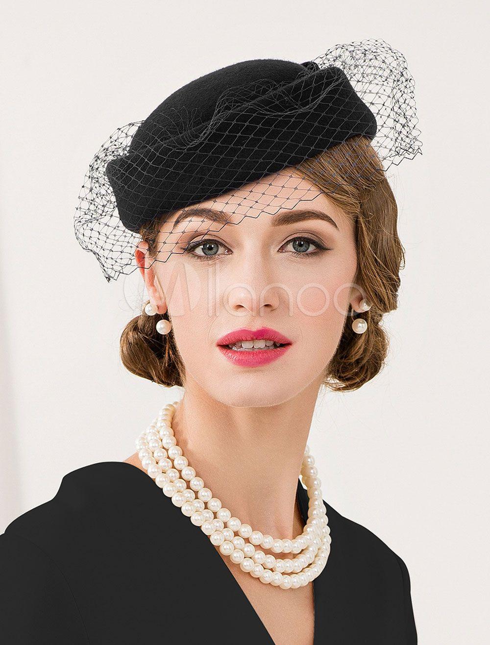 f0feb986cfb223 Vintage Wool Hat Royal Blue Bowknot Women's Flapper Fascinator Halloween -  Milanoo.com
