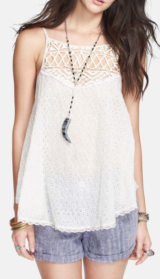 Free People 'I Got My Eyelet on You' Cotton Tank
