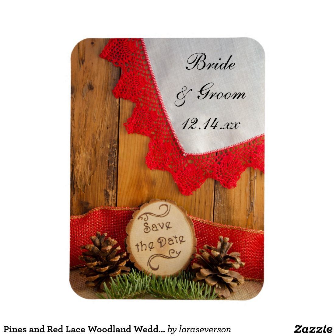 Pines and Red Lace Woodland Wedding Save the Date Magnet | WEDDING ...