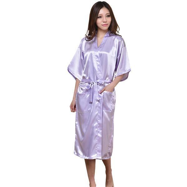 Plus Size S-XXXL Rayon Bathrobe Womens Kimono Satin Long Robe Sexy ... 1b3630a09