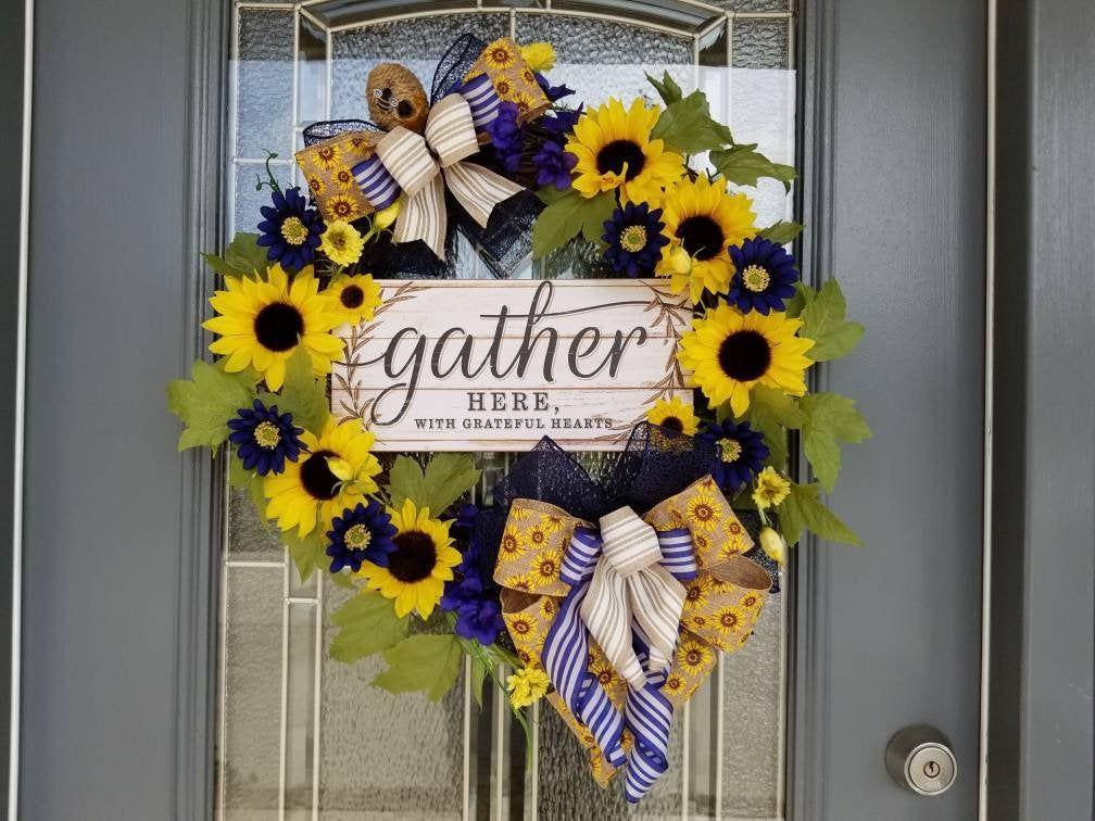 Photo of Sunflower wreath, sunflower farmhouse wreath, sunflower and blue daisy wreath, rustic wreath, farmhouse sunflower wreath, rustic wreath