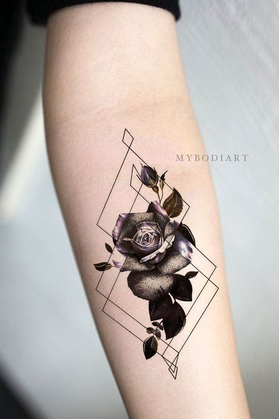 Trending Watercolor Black Rose Geometric Shape Forearm Tattoo Ideas for Women –  Ideas frescas del tatuaje del antebrazo de la flor para las mujeres -…