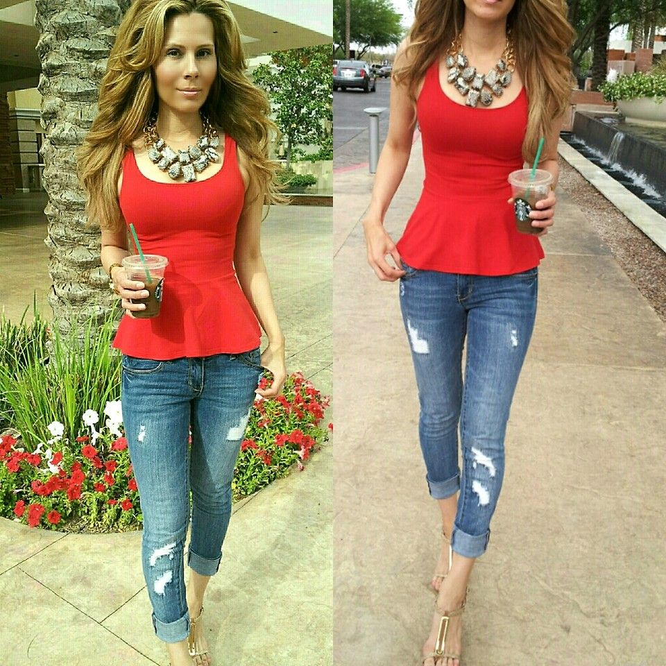 red peplum top outfit - Google Search | Style | Pinterest | Red ...