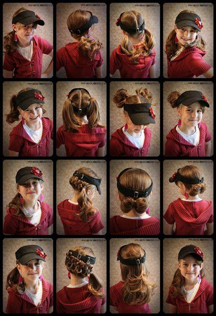 By Jenn Visor Hat Hair Idea S Hat Hairstyles Visor Hairstyles Kids Hairstyles