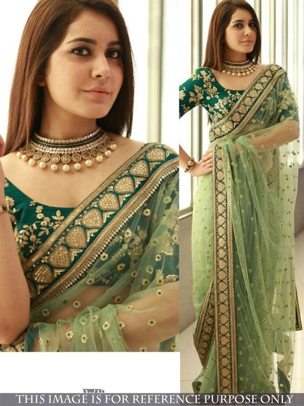 Green Color Nylon Net Saree  bdf13b9141