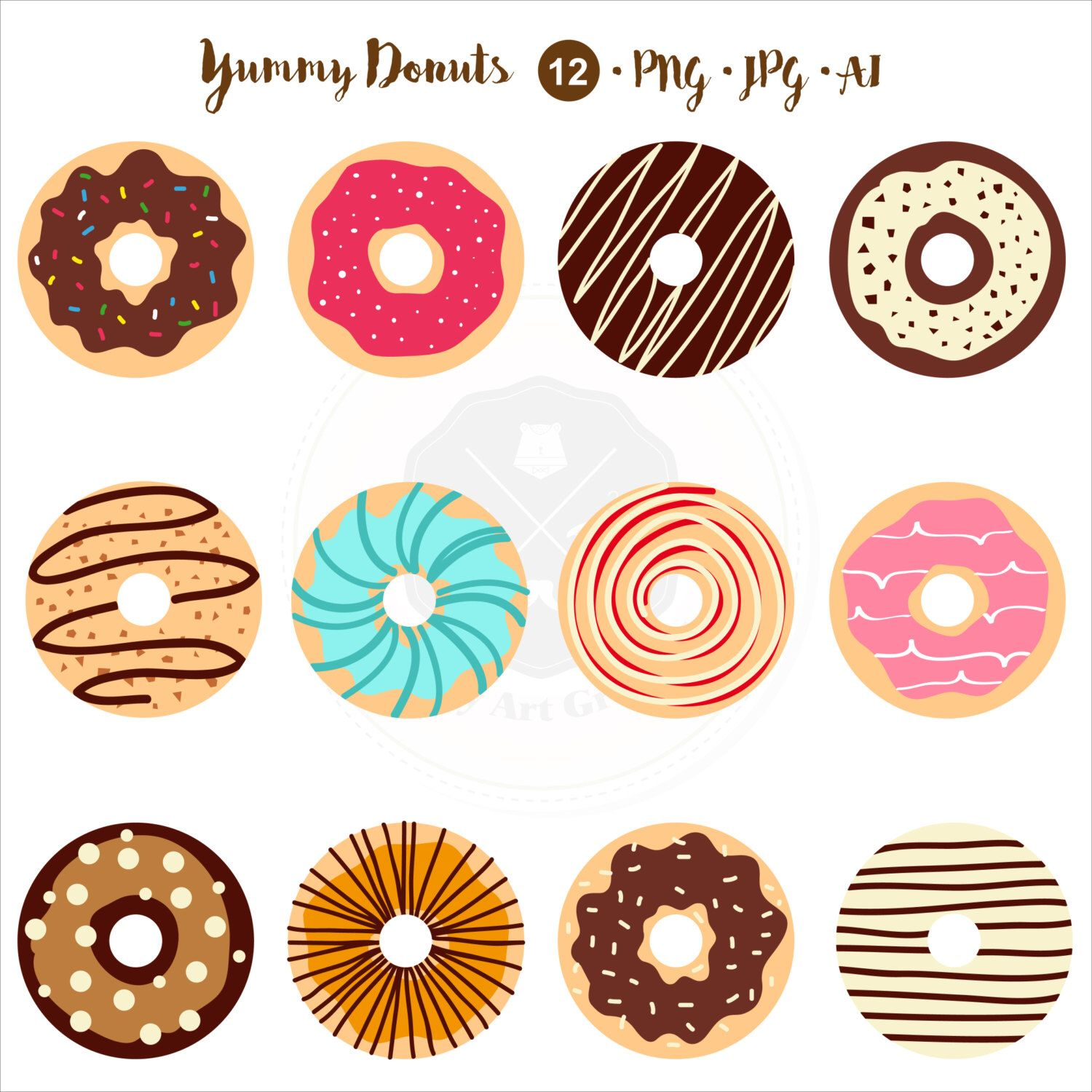 Yummy Donuts Clipart,food clipart,tea time clipart,donuts ...