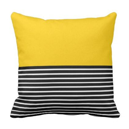 Yellow Block Black White Stripes Throw Pillow Zazzle Com In 2020 Stripe Throw Pillow Throw Pillows White Striped Room
