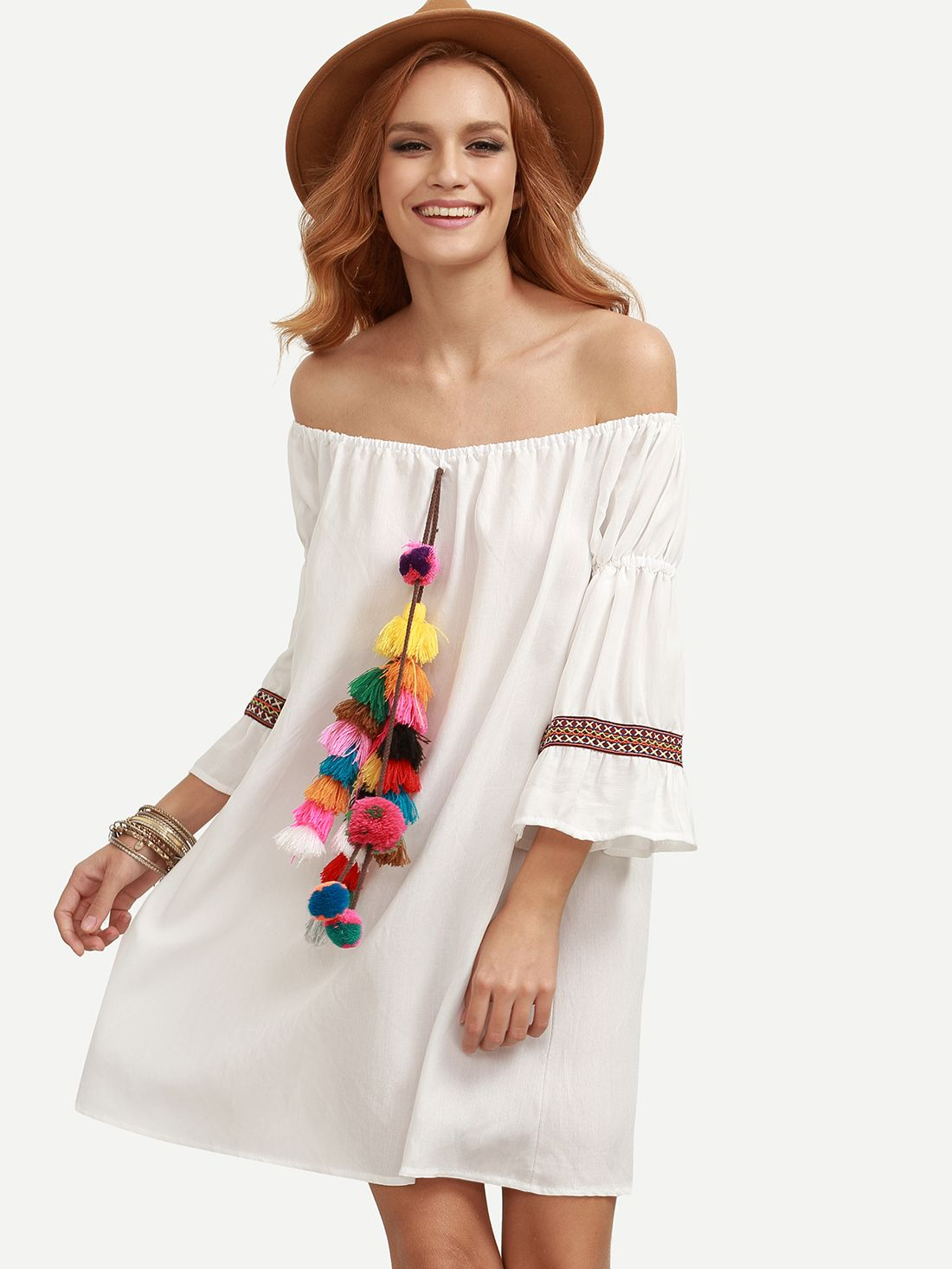 Buy it now white tassel and woven tape embellished off the shoulder