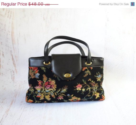 6df93f14266d SALE Vintage 1960s Floral Handbag Shoulder Bag Tapestry Carpet Bag Black  Large on Etsy