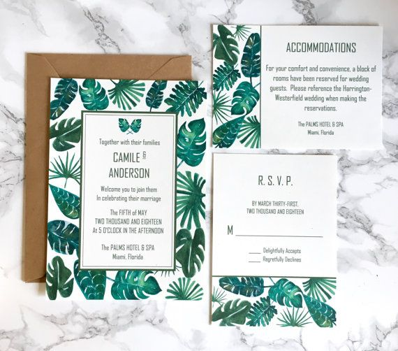 Tropical Palm Leaves Green Watercolor By Allthatglitterscards Kelly Modern Wedding Invitations Destination Caribbean Beach