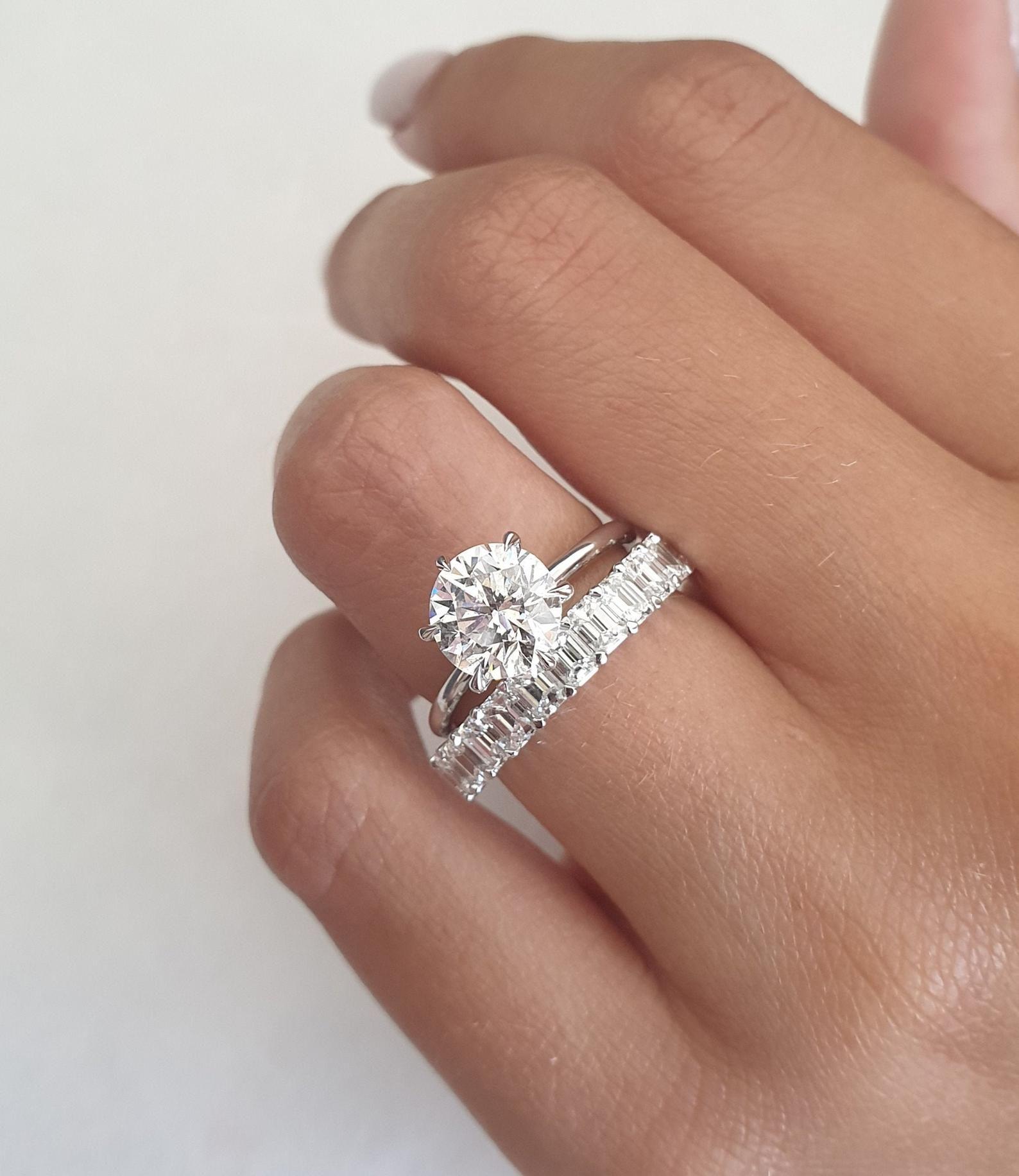 Rose Gold Man Made Diamond Engagement Ring 8mm Round Cut Wedding Ring Brilliant Cut Diamond Simulants Women Bridal Ring Anniversary Gift