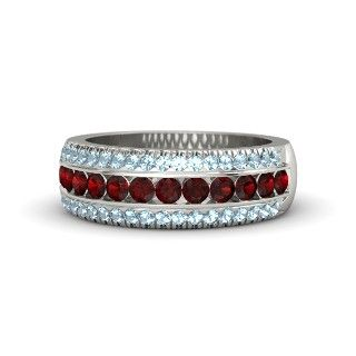 18K White Gold Ring with Red Garnet & Diamond - lay_down