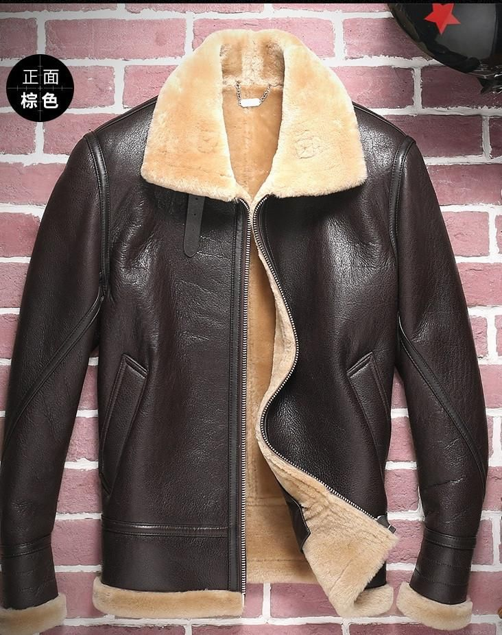 Hnm008 Brand High Quality Men Sheep Skin Leather Jackets Shearling