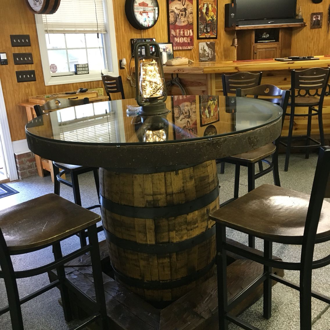 Our wagon wheel pub table with barn wood foot rest! | Marie's ...