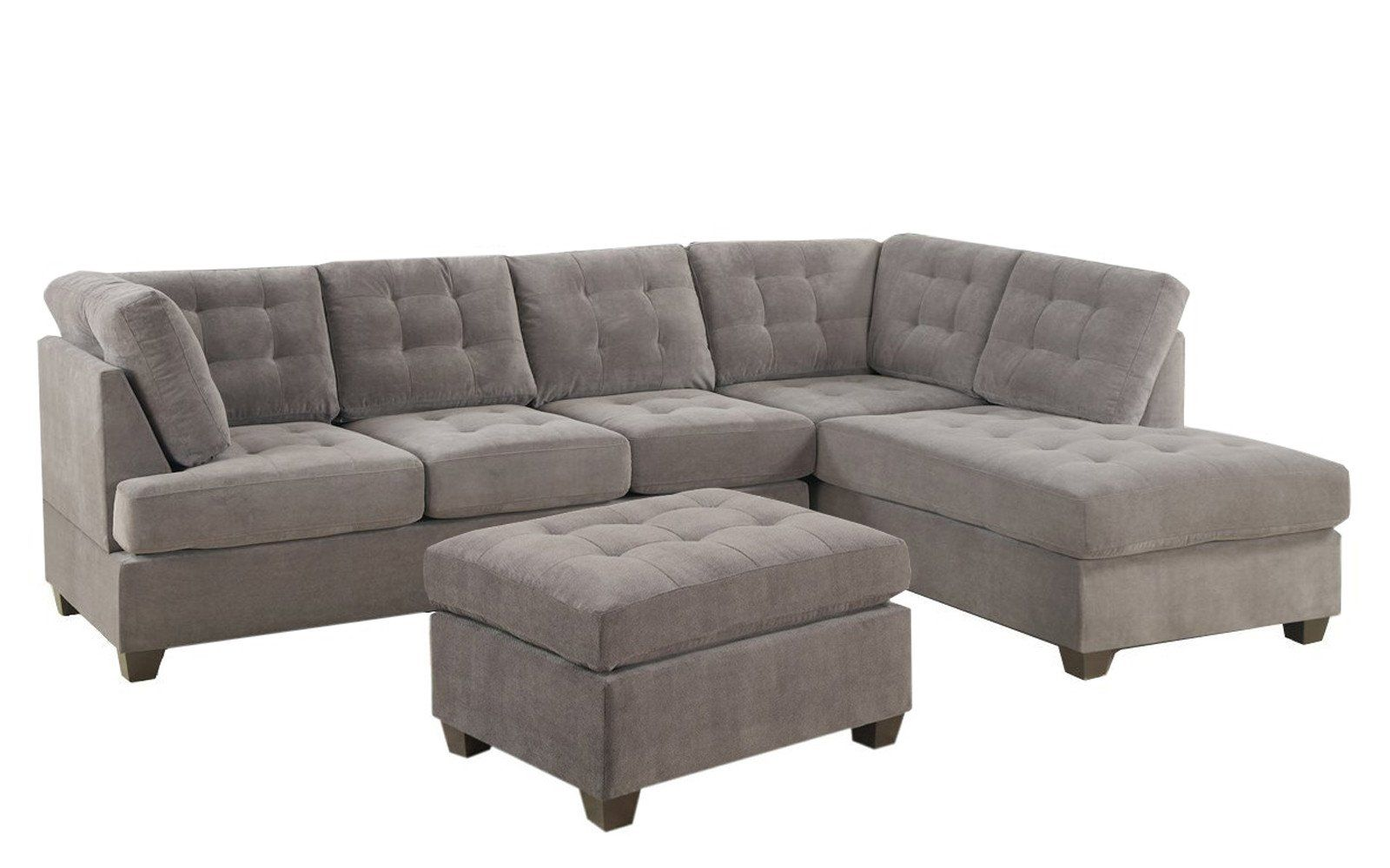 Angolo 1 Classic 3 Piece Sectional And Ottoman Set Sectional Sofa Couch Tufted Sectional Sofa Couch With Chaise