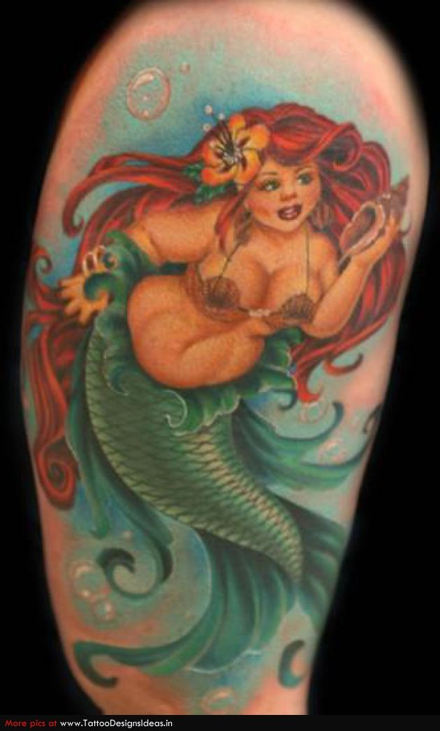 Voluptuous mermaid love this one this is about as for Little mermaid tattoo sleeve