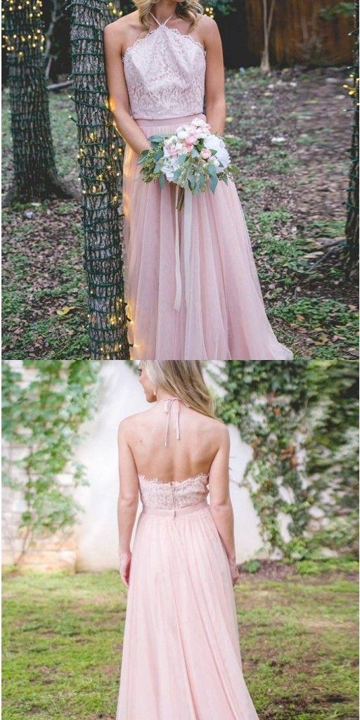 Elegante Brautjungfernkleider Lang Rosa | Kleid für ...