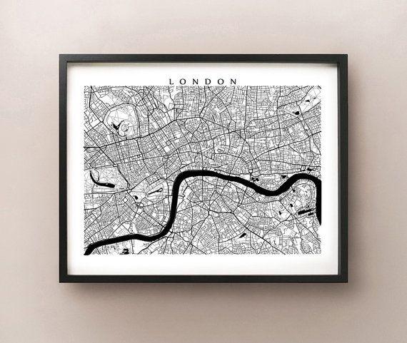 London Map Black And White Wall Art England Art Poster Etsy White Wall Art Black And White Wall Art London Map