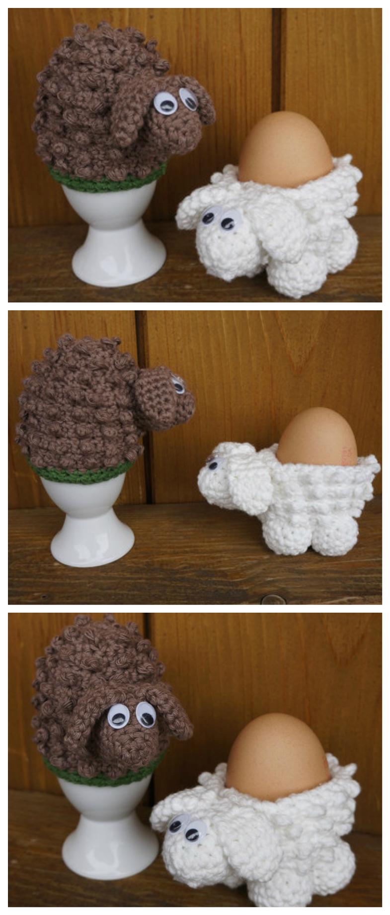 Photo of Häkelanleitung: gehäkelte Eierbecher in Form kleiner Schafe in Braun und Weiß …