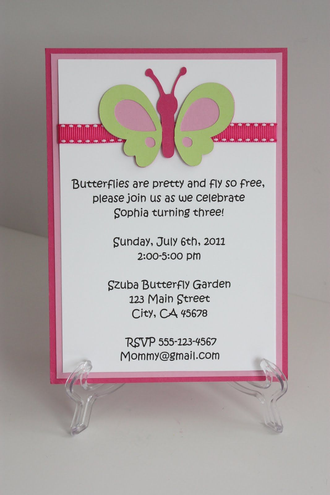Pink/Green Butterfly Invitation | Birthday Party | Pinterest ...