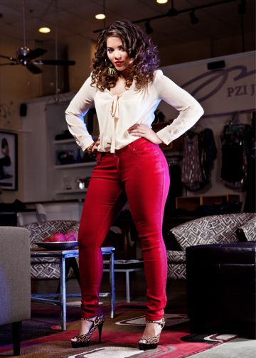 Pzi Jeans Candy Coated Skinny Jeans In Red Is Blazing Hot -7529