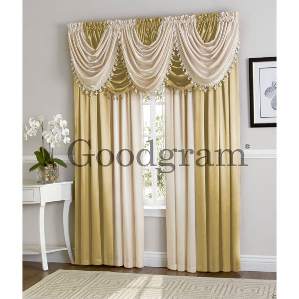 Ultra Luxurious Complete Hyatt Window Curtain & Fringed Valance Treatments Set - Antique & Beige - Walmart.com