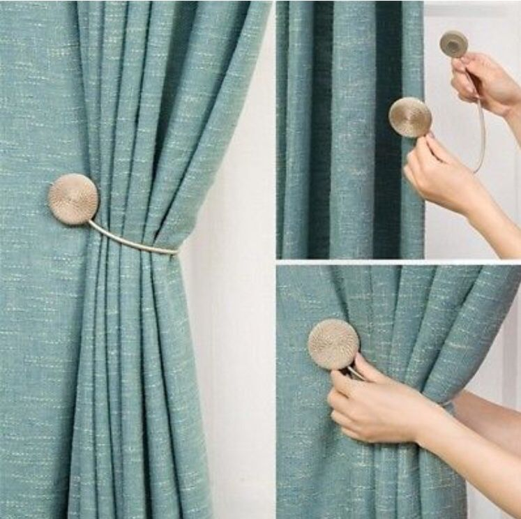 Magnetic Curtain Buckle 8 Colors Brief Braided Round Magnet Tieback Holder Ring #homedecor #curtains #curtainsstyles #holder #curtainideas #decor