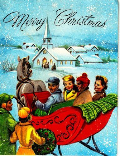 vintage christmas card sleigh ride horse friends winter scene