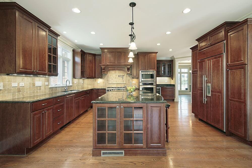 43 Kitchens with Extensive Dark Wood Throughout | Dark ... on Maple Kitchen Cabinets With Dark Wood Floors Dark Countertops  id=37081