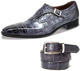 Hand Painted Alligator Monk Strap from Mauri of Italy