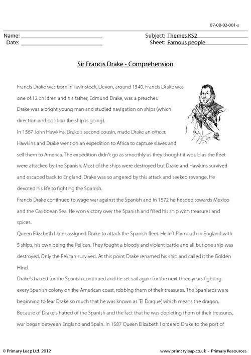 PrimaryLeap.co.uk - Sir Francis Drake - Comprehension Worksheet ...