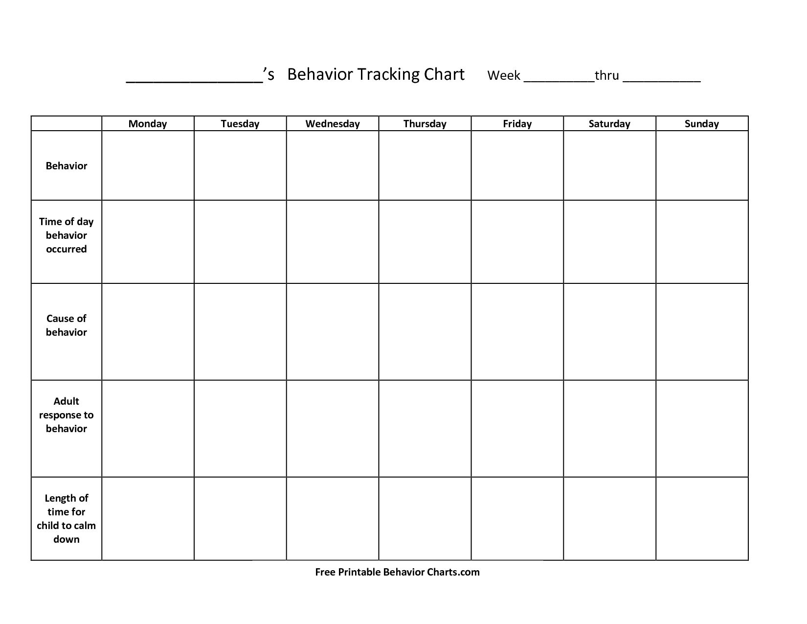 Take Blank Behavior Charts For September Take Blank