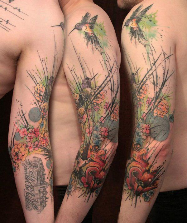 Colored Sleeve Tattoo Of Birds: 55 Amazing Hummingbird Tattoo Designs