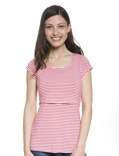 e22c5a64354f9 Sleek pink striped scoop neck nursing top | Baju Menyusui ...