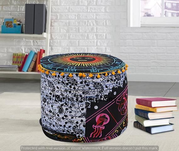 Round Ottomans Cotton Astrological Floor Pillow Cover Bohemian Indian Pouffe Cover Handmade Chairs F