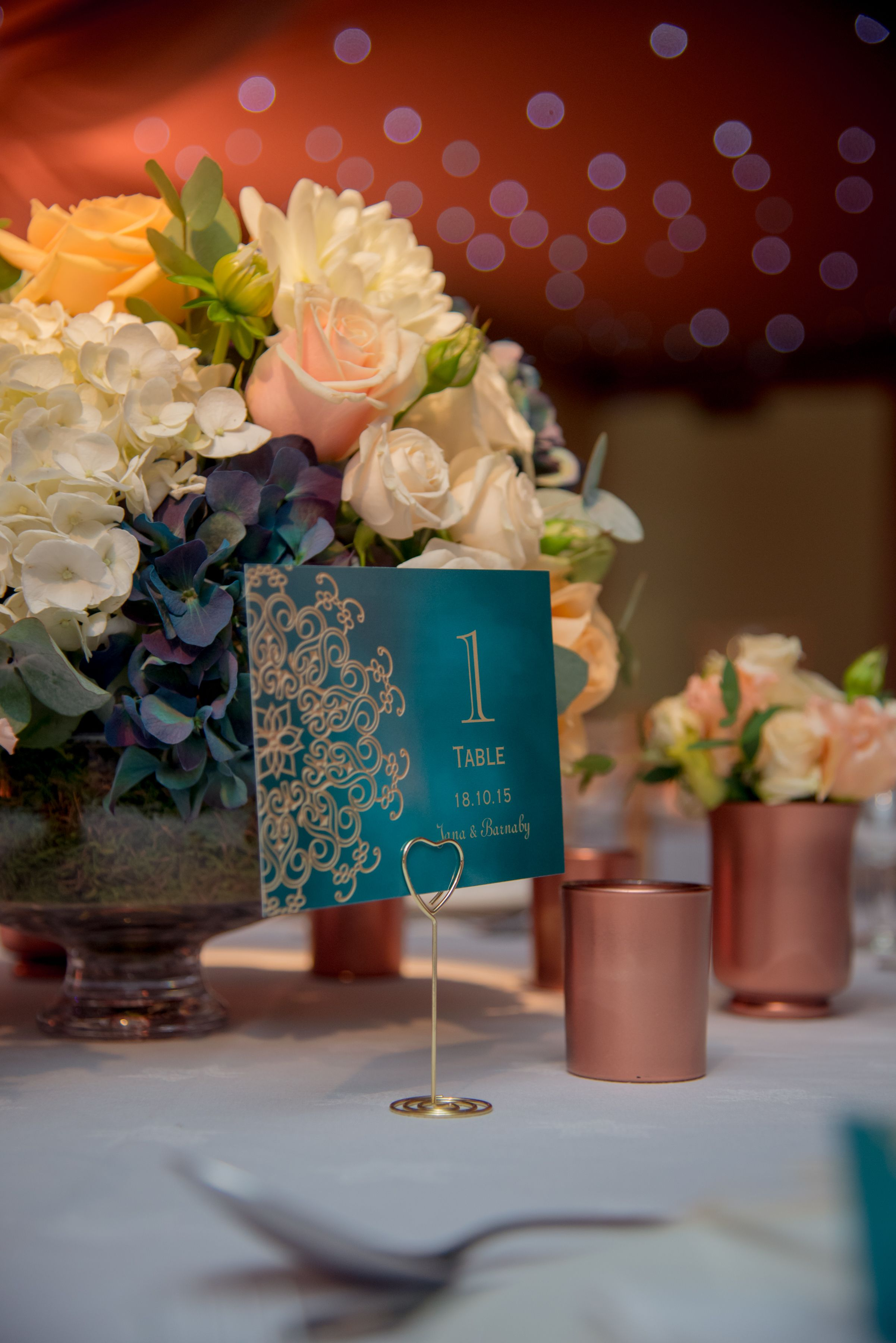 Teal Peach Ivory And Copper Wedding Centrepiece Surrey Flowers By Boutique Blooms Floral Design