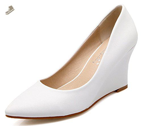 Women's Slip On Pointed Closed Toe Wedge Mid Heel Dress Pumps