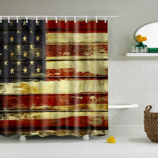 Rustic American Flag Fabric Shower Curtain Fabric Shower