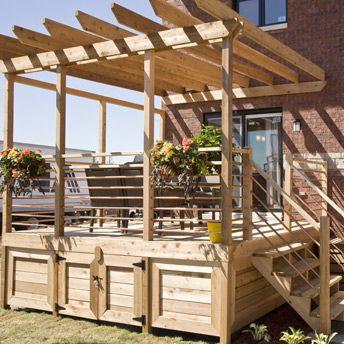 Populaire Terrasse surélevée en bois traité avec pergola | Deco jardin  MQ06