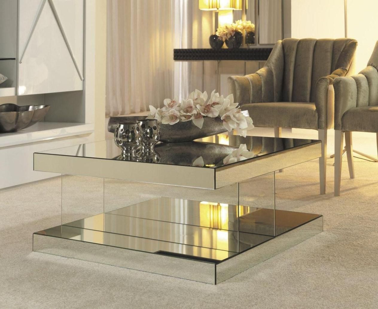 Image Result For How To Decorate A Mirrored Coffee Table Coffee Table Mirrored Coffee Tables Square Mirrored Coffee Table [ 1033 x 1264 Pixel ]