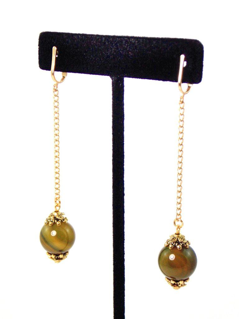 Olive Green Ball Drop Long Dangle Agate Stone Gold Earrings Clip On Optional